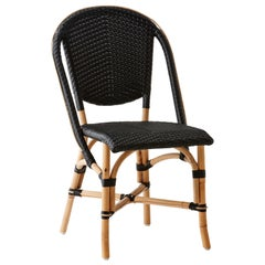 Sika Design Sofie Woven Rattan Bistro Side Chair in Black