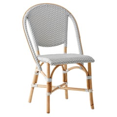 Sika Design Sofie Woven Rattan Bistro Side Chair in Grey with White Dots