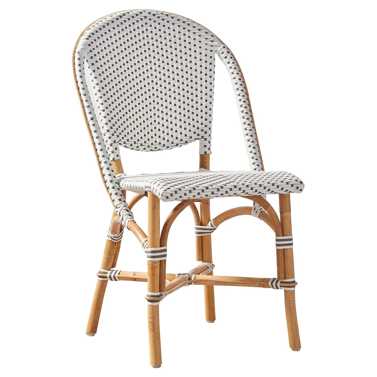 Sika Design Sofie Woven Rattan Bistro Side Chair in White with Cappuccino Dots