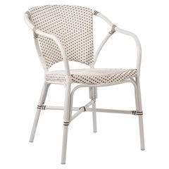 Sika Design Valerie Rattan Outdoor Bistro Chair in White with Cappuccino Dots