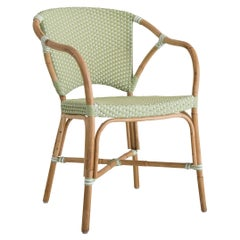 Sika Design Valerie Woven Rattan Bistro Chair in Lime Green with White Dots