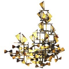 Silas Seandel Brutalist Abstract Metal Wall Sculpture