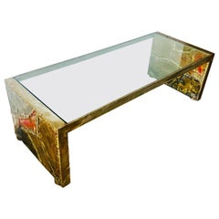 Silas Seandel Brutalist Modern Coffee Table in Mixed Metal and Glass