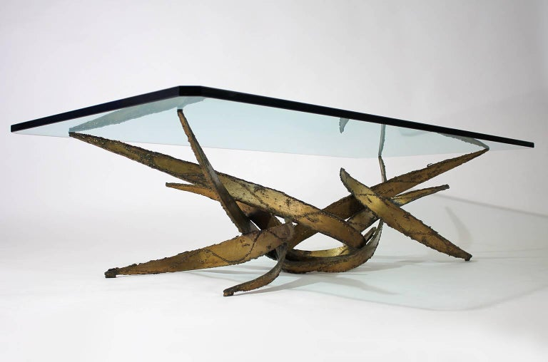 20th Century Silas Seandel Brutalist Wrought Iron Gilded Coffee or Cocktail Table For Sale