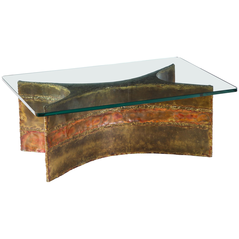 Silas Seandel Coffee Table, Copper, Bronze, Brass, Glass