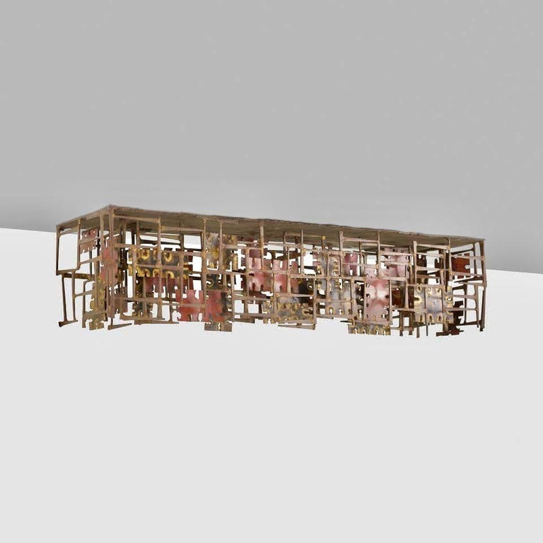 Mid-Century Modern Silas Seandel Copper, Brass & Bronze Wall Mounted Console Table, USA 1966 For Sale