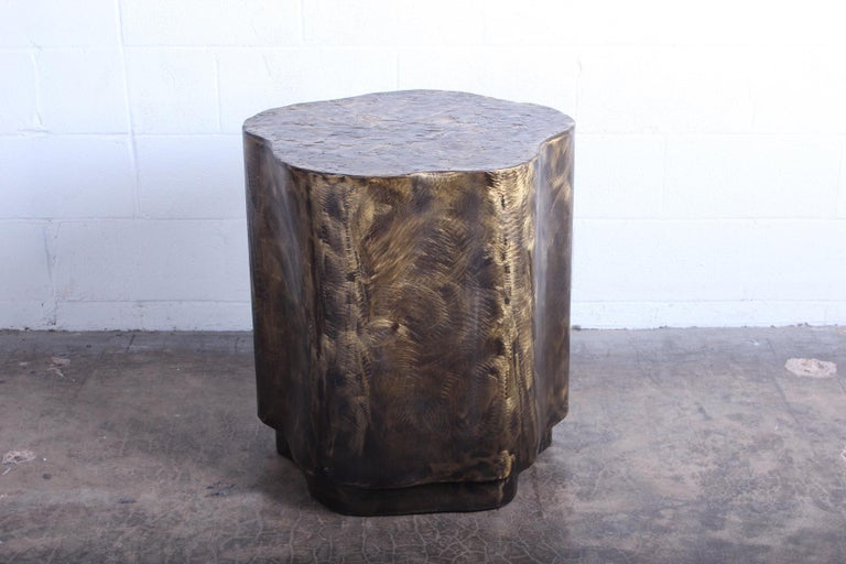 A freeform bronze dining table base / pedestal by Silas Seandel. Sold without glass.