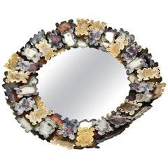 Silas Seandel Mixed Torched Metal Jigsaw Puzzle Mirror Vintage