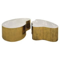 Silas Seandel Pair of Coffee Tables in Brass and Brushed Steel, 1980s 'Signed'