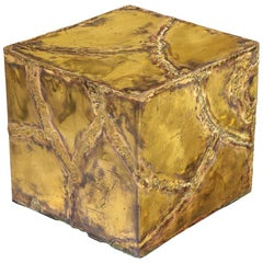 Silas Seandel Side Table, Bronze, Brass and Copper, Signed