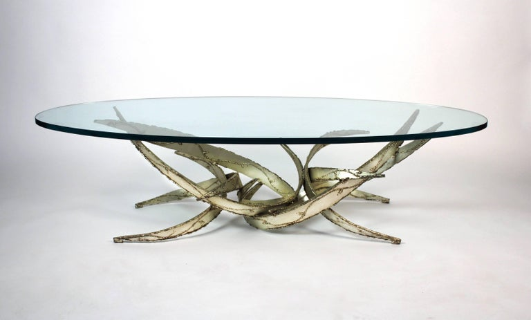 American Silas Seandel Silver Leafed Brutalist Coffee Table For Sale