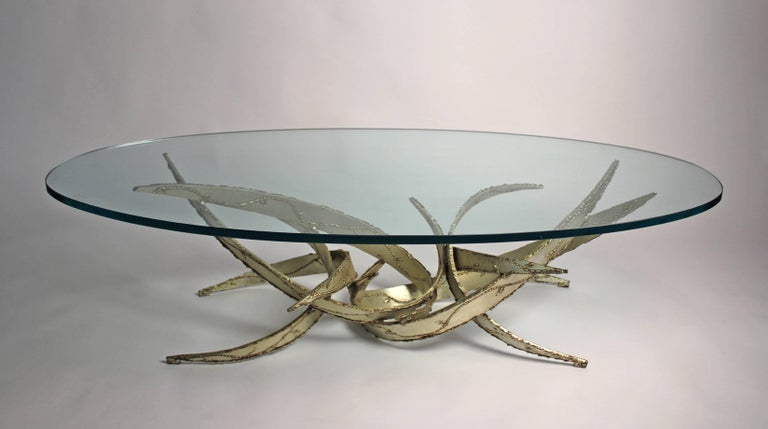 20th Century Silas Seandel Silver Leafed Brutalist Coffee Table For Sale