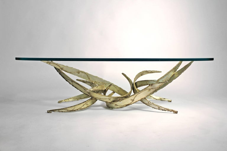 Silas Seandel Silver Leafed Brutalist Coffee Table For Sale 1