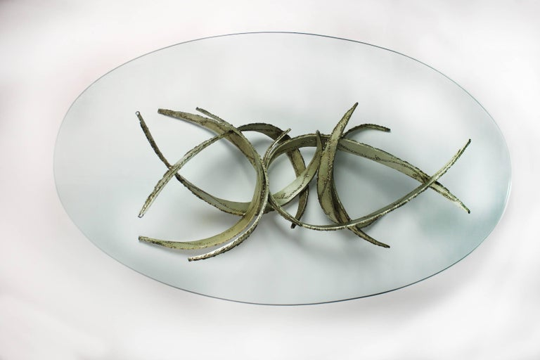Silas Seandel Silver Leafed Brutalist Coffee Table For Sale 2