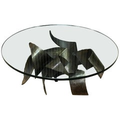 Silas Seandel Style Brutalist Steel and Glass Coffee Table