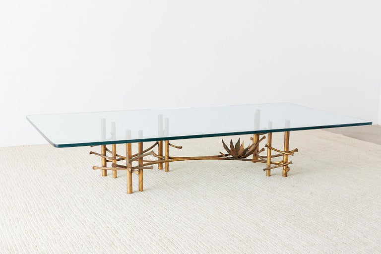 Silas Seandel Style Gilt Lotus Cocktail Table For Sale 2