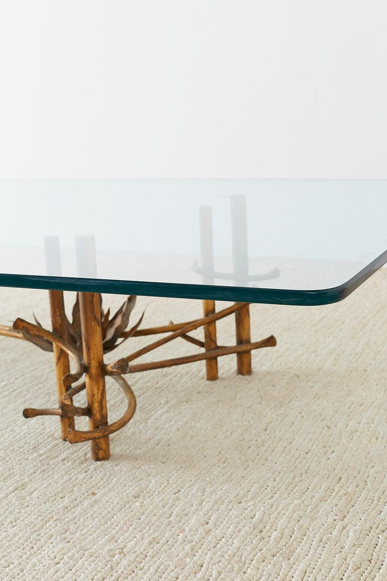 Silas Seandel Style Gilt Lotus Cocktail Table For Sale 4