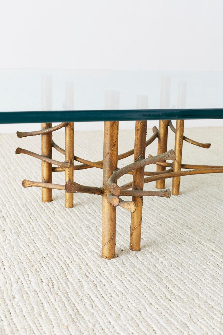 Silas Seandel Style Gilt Lotus Cocktail Table For Sale 7