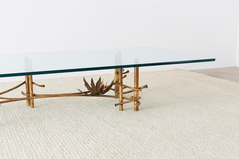 Silas Seandel Style Gilt Lotus Cocktail Table For Sale 9