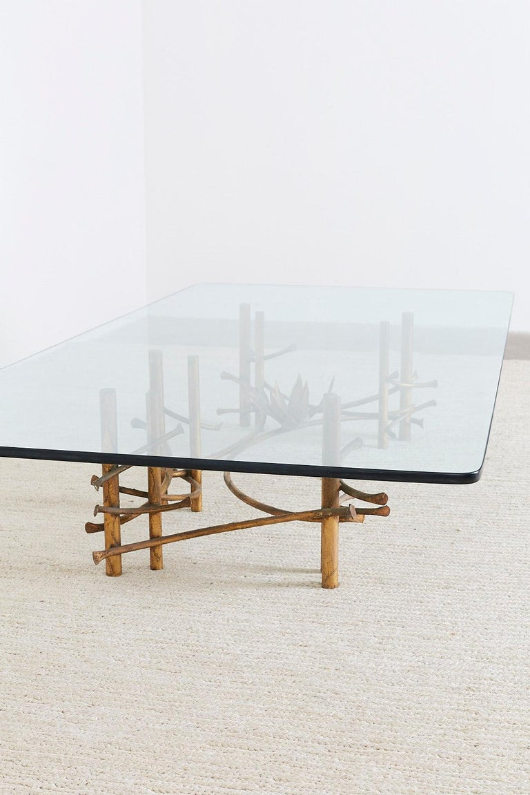 Silas Seandel Style Gilt Lotus Cocktail Table For Sale 10