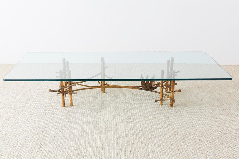 Mid-Century Modern Silas Seandel Style Gilt Lotus Cocktail Table For Sale