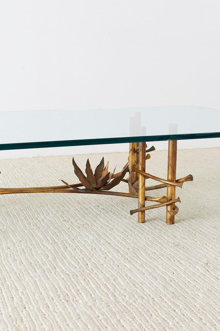 American Silas Seandel Style Gilt Lotus Cocktail Table For Sale