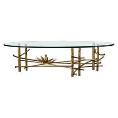 Silas Seandel Style Gilt Lotus Cocktail Table
