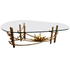 Silas Seandel Style Gilt Lotus Cocktail Table with Glass Top