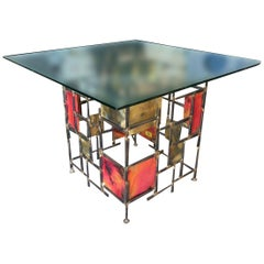 Silas Seandel Style Mixed Metal Nail Brutalist Side Table