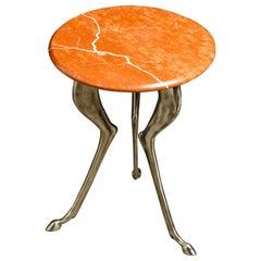 Silas Seandel Styled Marble & Aluminum Three Legged Anthropomorphic Side Table