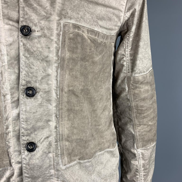 Brown SILENT by DAMIR DOMA M Taupe Distressed Cotton Blend Buttoned Jacket For Sale