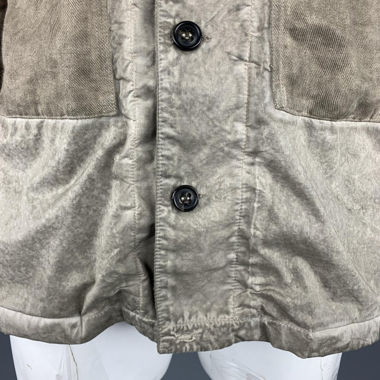 SILENT by DAMIR DOMA M Taupe Distressed Cotton Blend Buttoned Jacket In Good Condition For Sale In San Francisco, CA