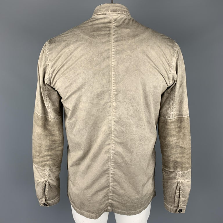 Men's SILENT by DAMIR DOMA M Taupe Distressed Cotton Blend Buttoned Jacket For Sale