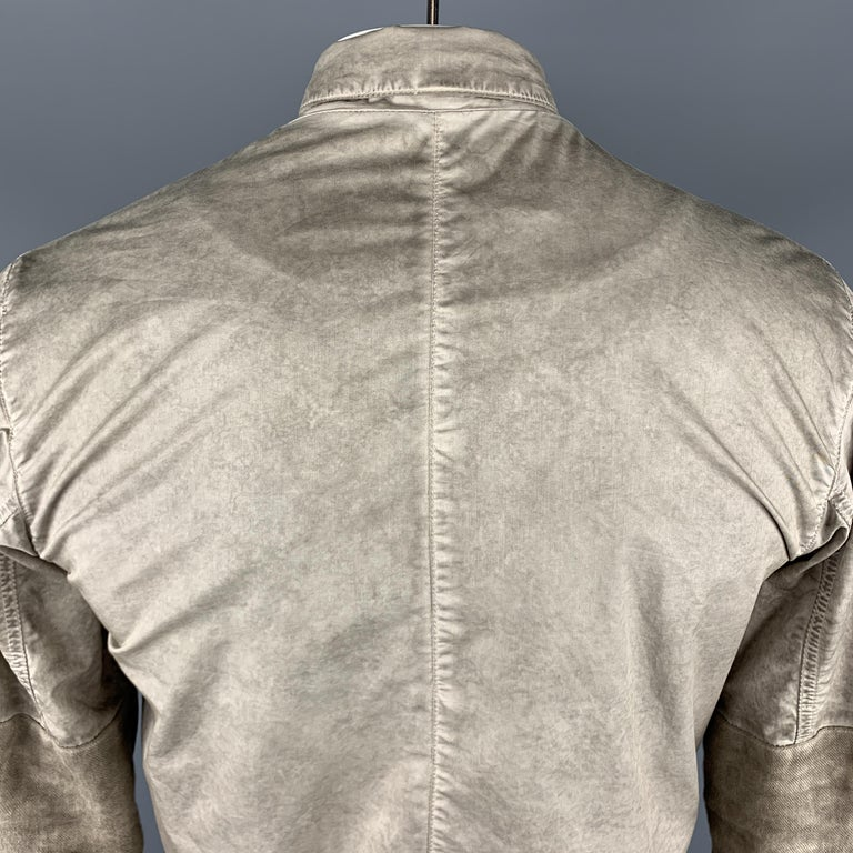 SILENT by DAMIR DOMA M Taupe Distressed Cotton Blend Buttoned Jacket For Sale 1