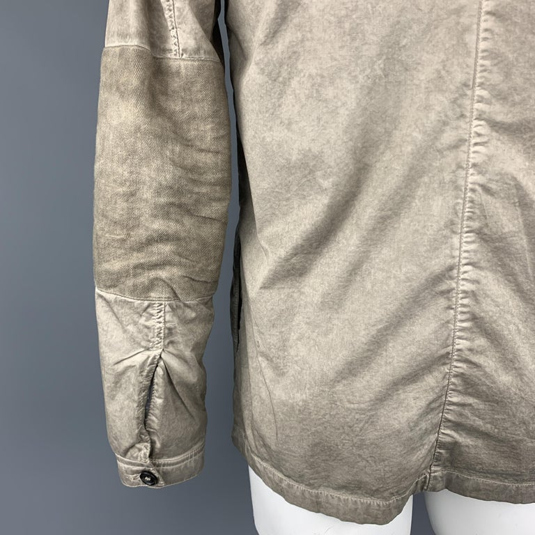 SILENT by DAMIR DOMA M Taupe Distressed Cotton Blend Buttoned Jacket For Sale 2