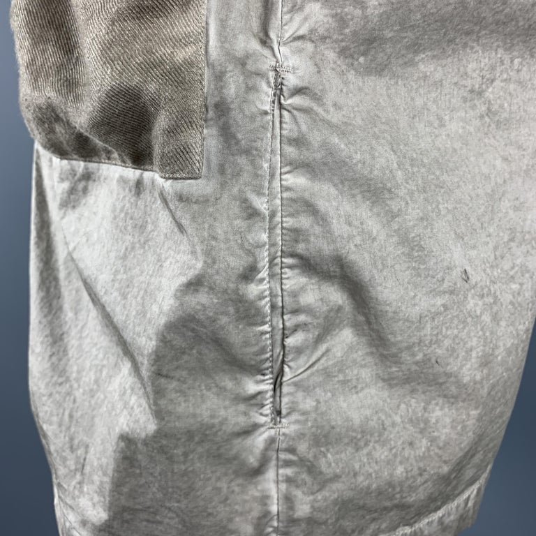SILENT by DAMIR DOMA M Taupe Distressed Cotton Blend Buttoned Jacket For Sale 4