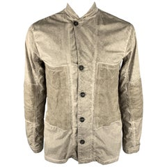 SILENT by DAMIR DOMA M Taupe Distressed Cotton Blend Buttoned Jacket
