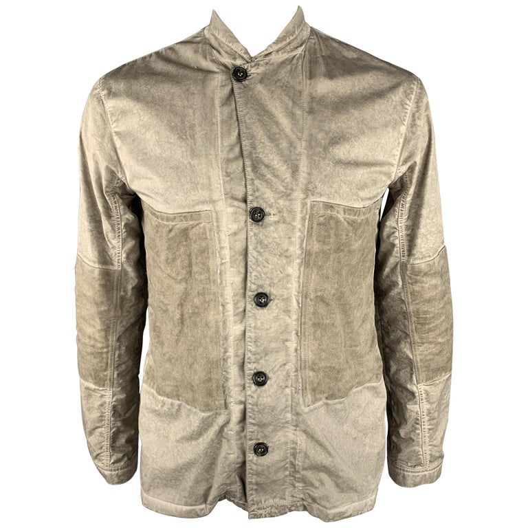 SILENT by DAMIR DOMA M Taupe Distressed Cotton Blend Buttoned Jacket For Sale