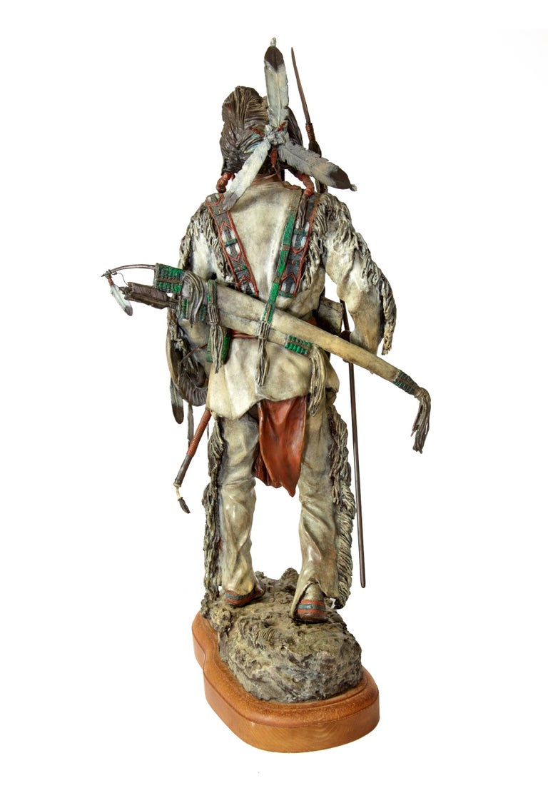'Silent Sentinel' circa 1996, Painted Bronze Figure by James Regimbal For Sale 7