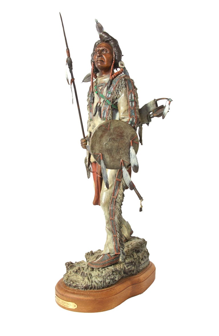20th Century 'Silent Sentinel' circa 1996, Painted Bronze Figure by James Regimbal For Sale