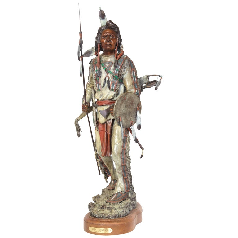 'Silent Sentinel' circa 1996, Painted Bronze Figure by James Regimbal For Sale