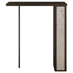Silhouette Console of Beveled Mirror and Patinated Steel, Made in Italy