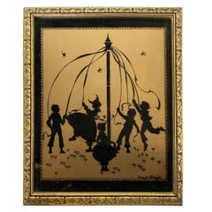 "Silhouette ""The Four Seasons"" Gold Print in Original Frame by Fidus, circa 1900"