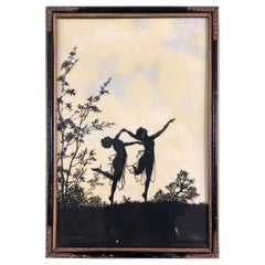 "Silhouette ""The Four Seasons"" Print in Original Frame by Fidus, circa 1900"