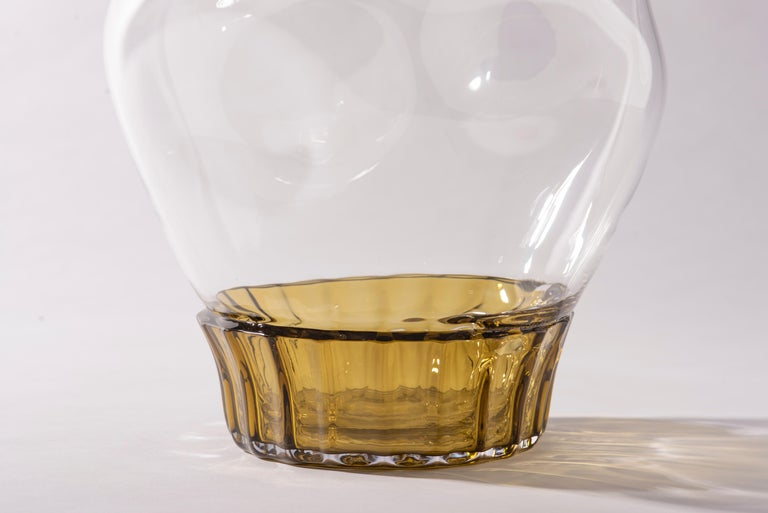 Mexican Silice Vase, Blown Glass, Unique 22 For Sale