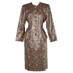 Silk and lurex damasked skirt-suit Yves Saint Laurent Rive Gauche