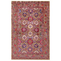 Silk and Metallic Thread Persian Souf Kashan Rug. Size: 4 ft 3 in x 6 ft 6 in