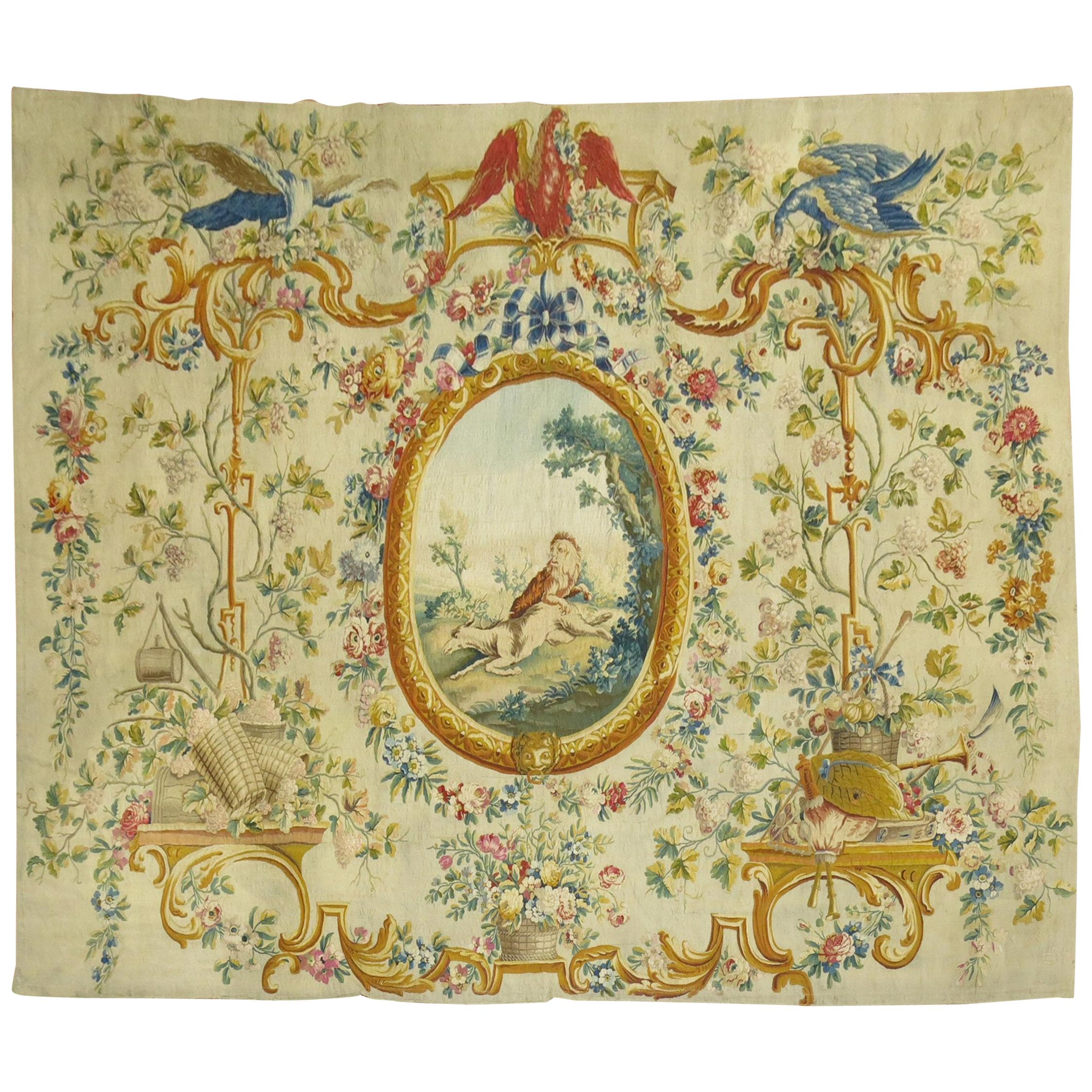 Silk and Wool 18th Century French Aubusson Tapestry Panel from France