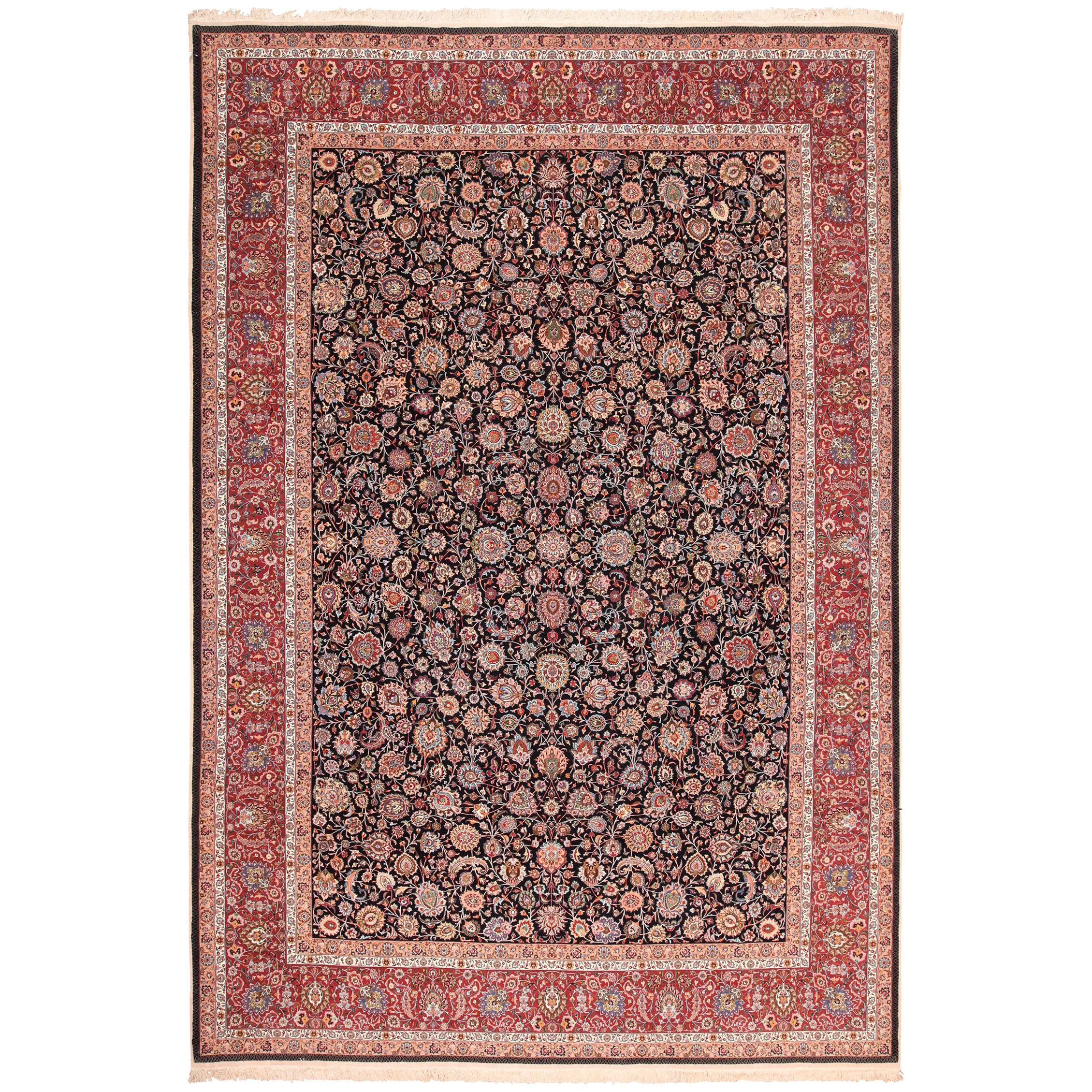 """Silk and Wool Fine Floral Vintage Khorassan Persian Rug. Size: 11' 3"""" x 16' 6"""""""