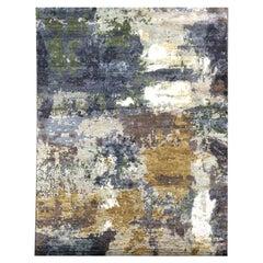 Silk and Wool Handmade Rug Abstract Design